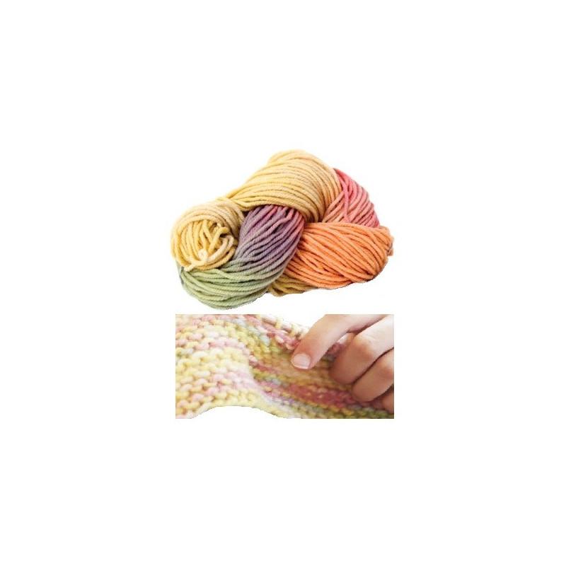 Laine bio, echeveau pastel multicolore, 100g filges