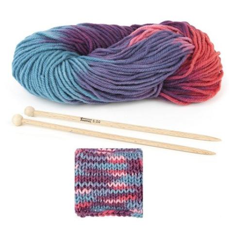 Kit tricot enfant : Laine bio rose multicolore et aiguilles