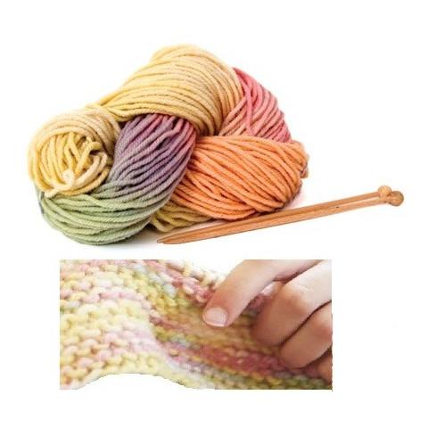 Kit tricot : Laine bio pastel multicolore et aiguilles