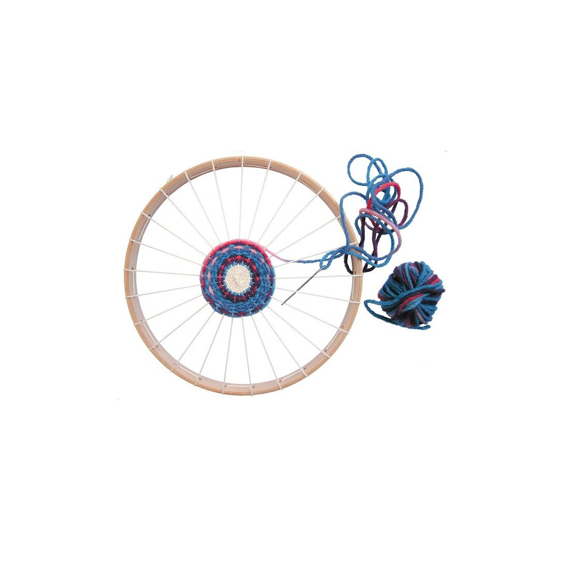 Kit tissage rond : cercle métier à tisser et laine bio