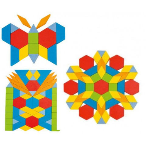 Attrimaths, pattern blocks, jeu mosaïque Geométrique en bois
