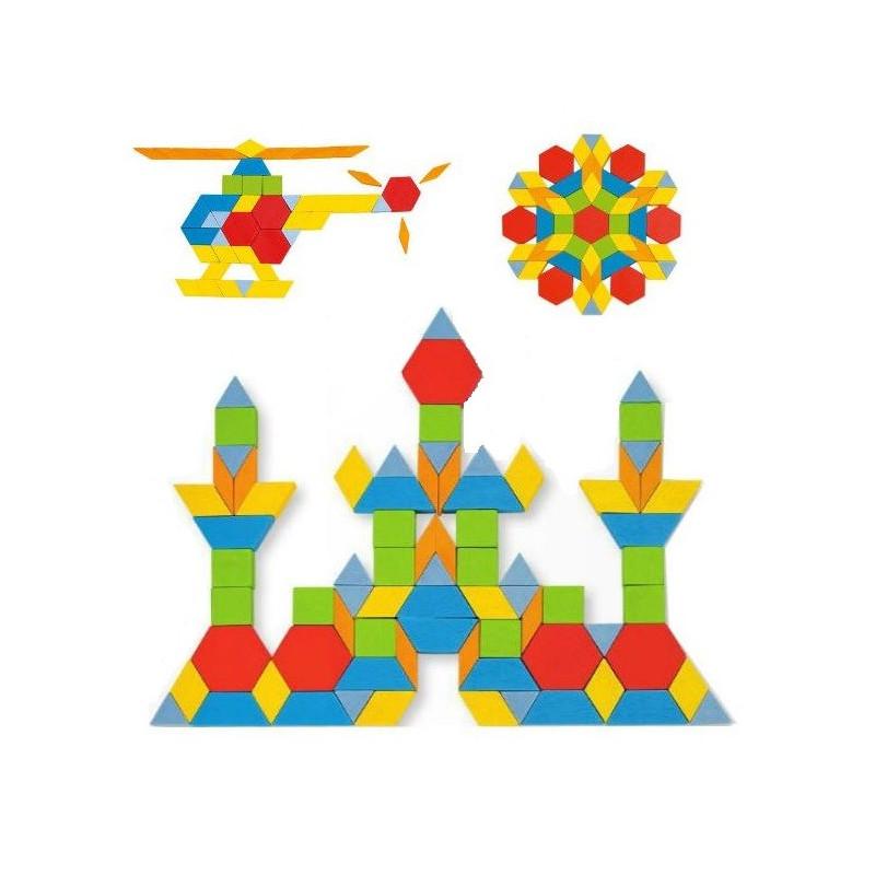 Attrimaths, jeu de  mosaïque Geométrique en bois goki