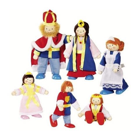 Famille royale, mini poupées articulées en bois goki