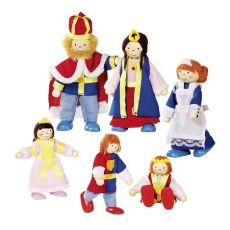 Famille royale, mini poupées articulées en bois