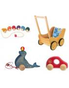 Jouets pour bébé, roule, à pousser ou à tirer, en bois naturel