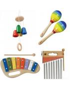 boites à musique,  instruments pour bébé, en bois et matériaux naturel