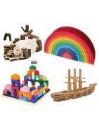 Jouets en bois pour construire, creer, assembler, empiler, imaginer