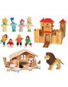 Jouets des petits mondes : figurines, ferme, pirate, chateau, maison